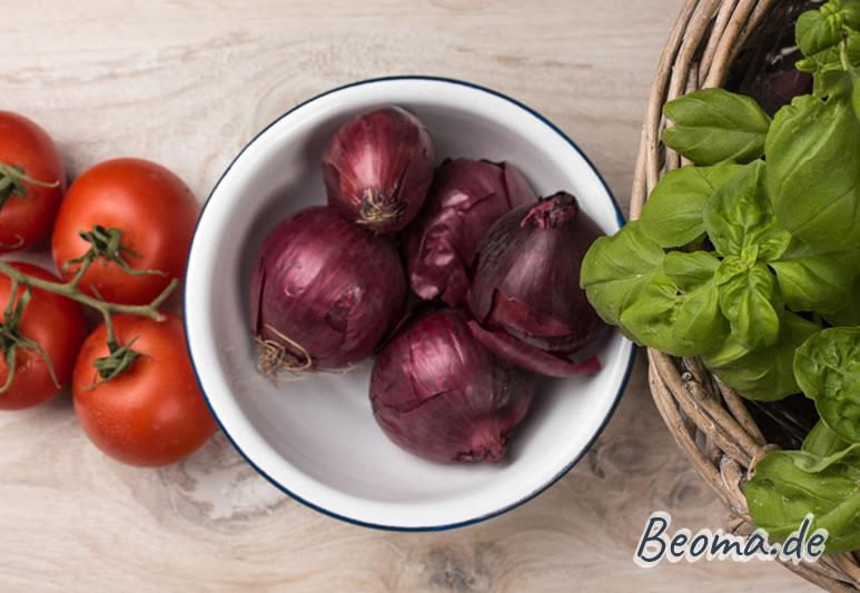 rote Tomate, rote Zwiebel und grüner Basilikum